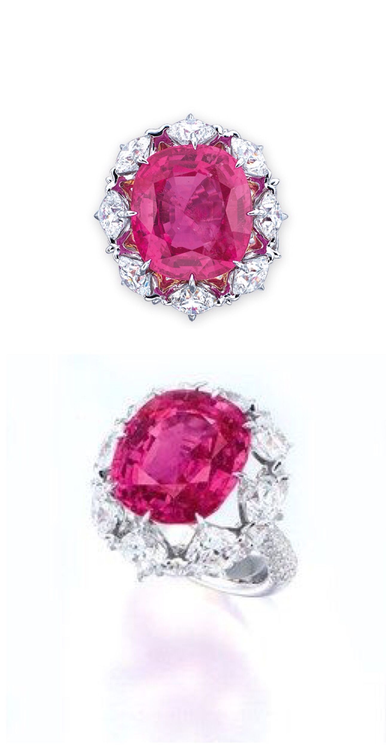 A PINK SAPPHIRE AND DIAMOND RING, BY FORMS. Set with a cushion ...