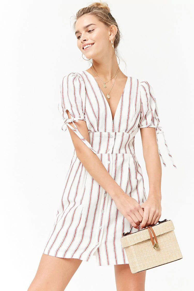 2152570574a7 Product Name Plunging Striped Dress
