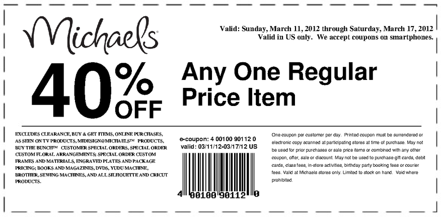 Michaels Coupon 3 11 12 3 17 12 40 Off Any One Regular Price