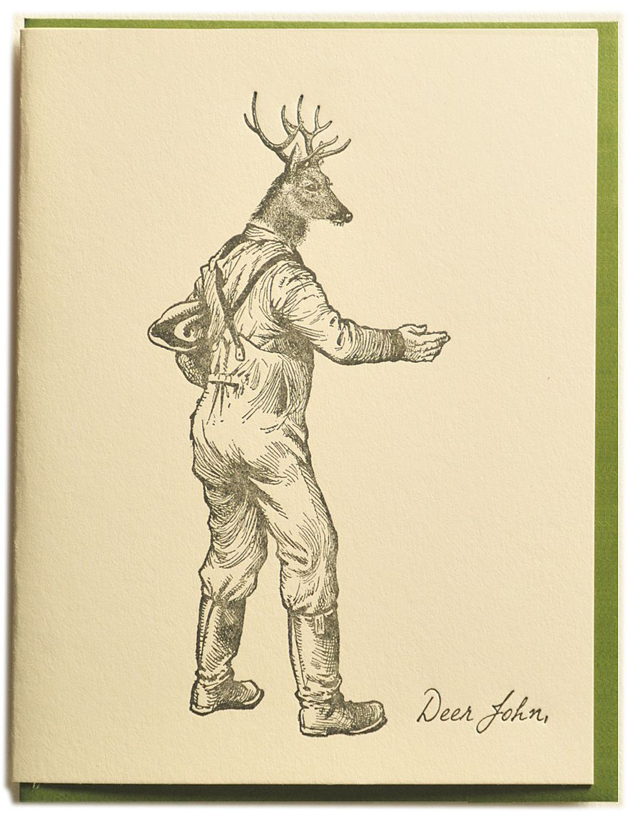 Deer John Letterpress Printed On Recycled Paper Comes With