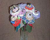YoYo Flowers Bunch Repurposed Knitting Needles Lot Nine Fabric Flower Yo Yo Glass Heart Vase Bunch Wedding Decor Shower Spring Home