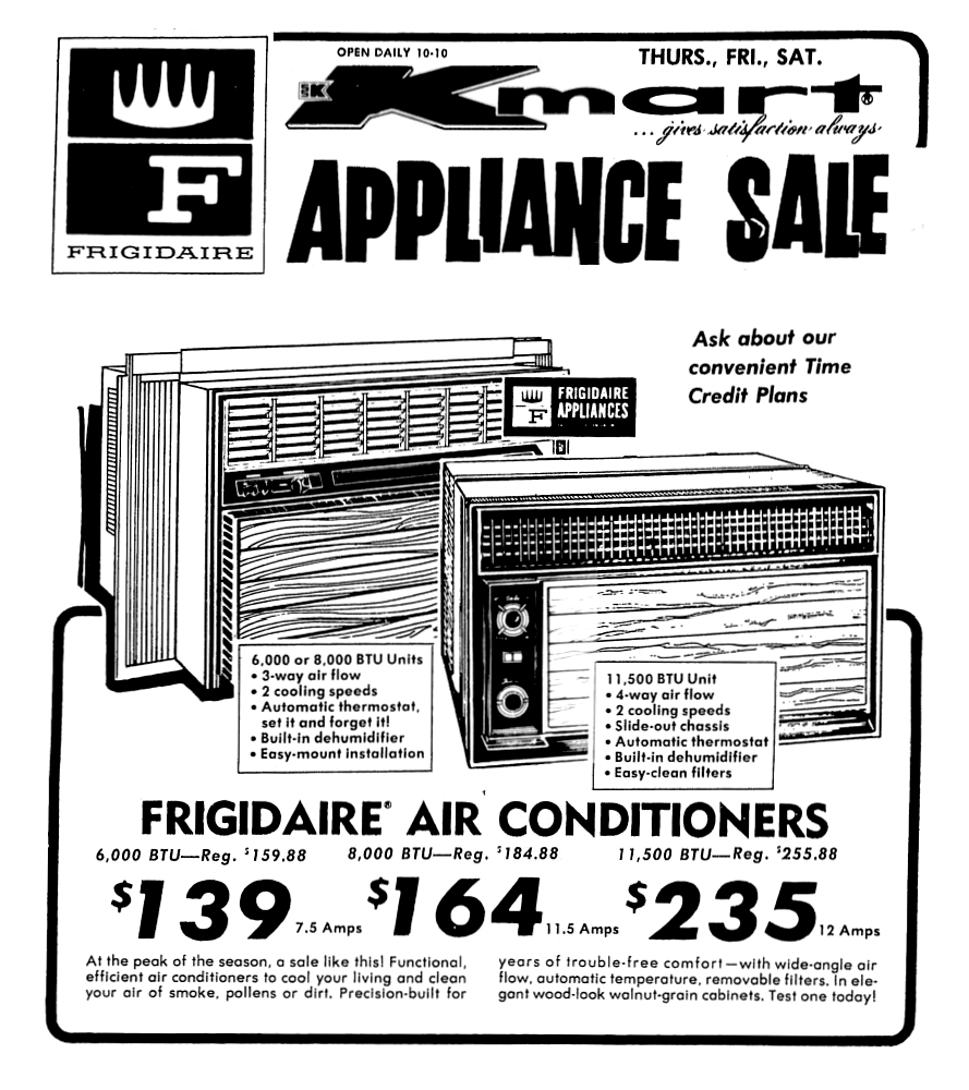 Kmart Frigidaire Air Conditioners July 1973 Vintage