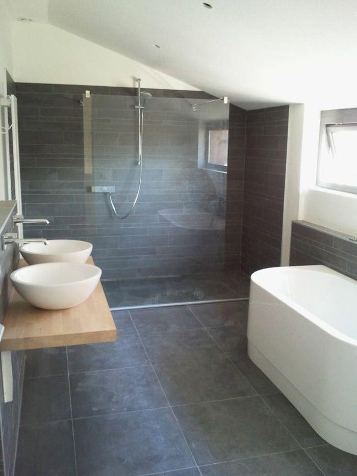 39 Dark Grey Bathroom Floor Tiles Ideas And Pictures Badkamer Badkamerideeen Badkamer Inrichting