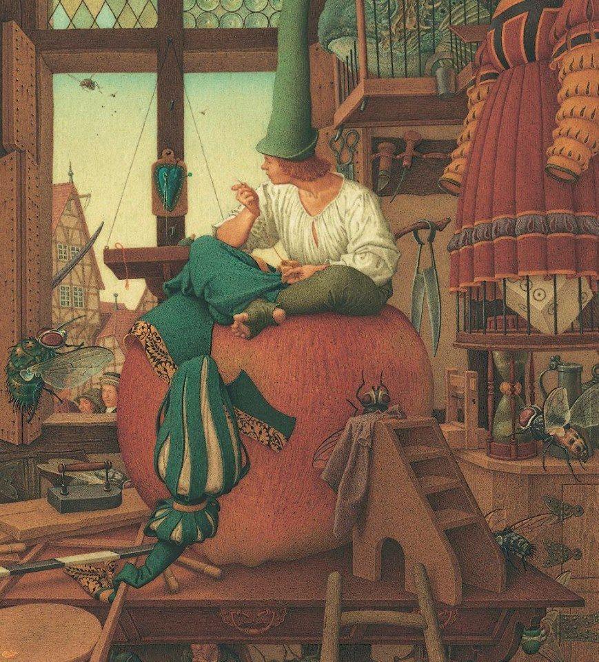 Www Duginart Com C Olga Dugina Andrej Dugin The Brave Little Tailor Detail Private Collec Fairytale Illustration Illustration Art Fantasy Art Illustrations