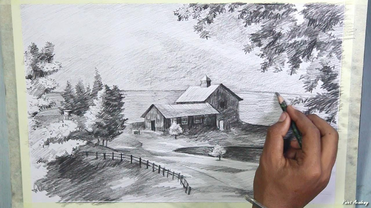 How to draw a beautiful scenery in pencil step by step
