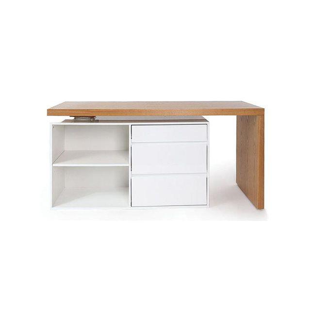 bureau design modulable blanc brillant et fr ne new max. Black Bedroom Furniture Sets. Home Design Ideas