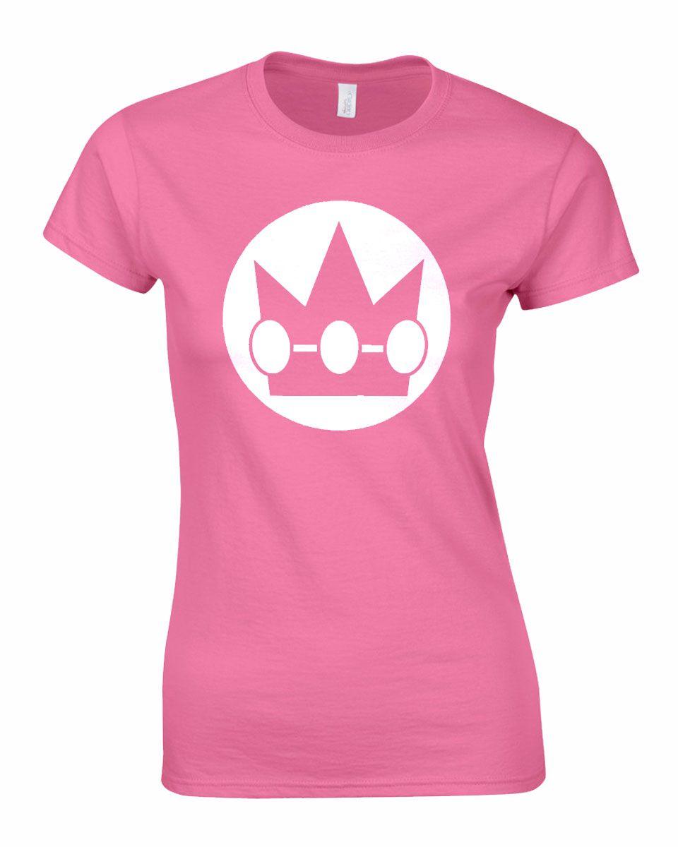 1cbe5f57 Women's Super-Mario-Bros 'Princess Peach' t-shirt. Lady-fit styled t-shirt  with vinyl print. 100% cotton. S – uk size 8, M – uk size 10, L – uk size  12, ...