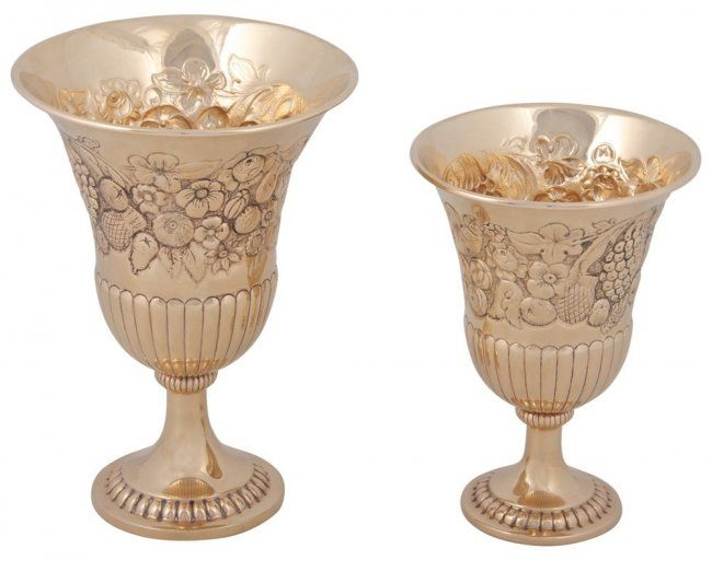 Two 14K Gold Hand Chased Footed Goblets / Kiddush Cups