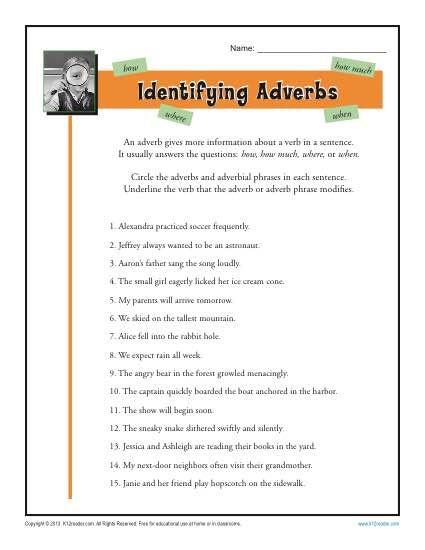 Identifying Adverbs Adverbs Adverbs Worksheet Adverbs