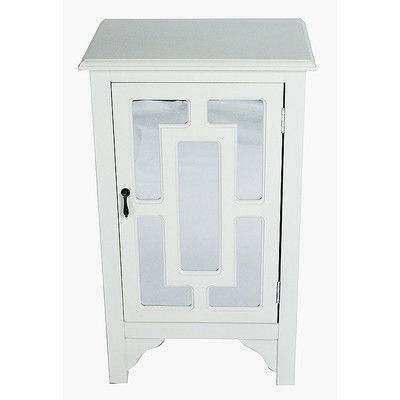 Charlton Home Winebarger 1 Door Accent Cabinet Wood Mirror White Wood Wood