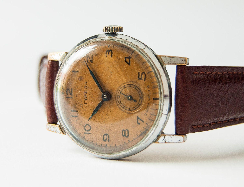 Antique Wristwatch Pobeda - Men' Watch Rust Brown Face