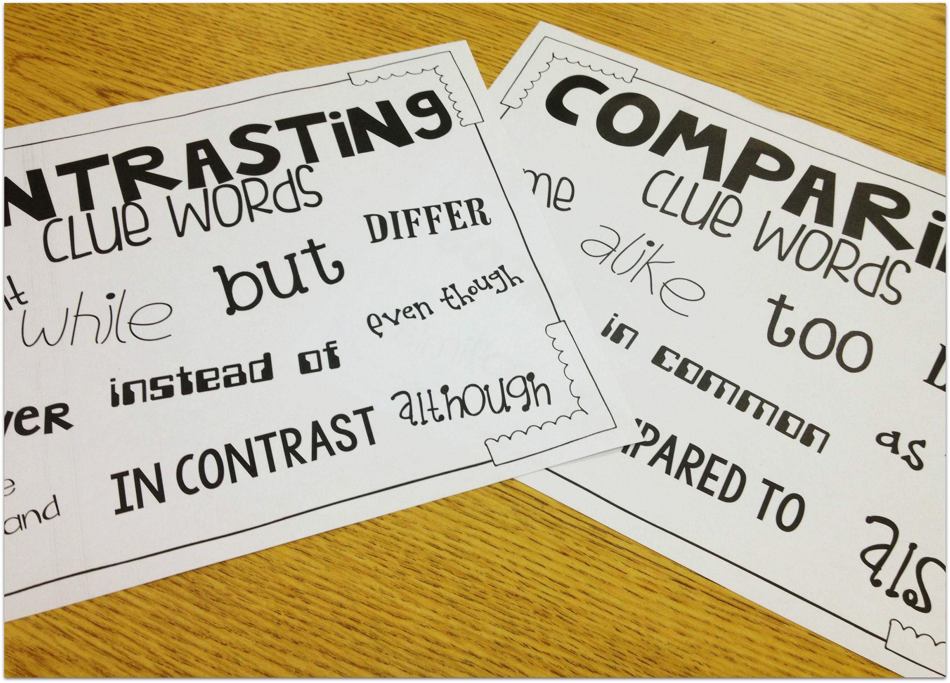 Compare Contrast Clue Words