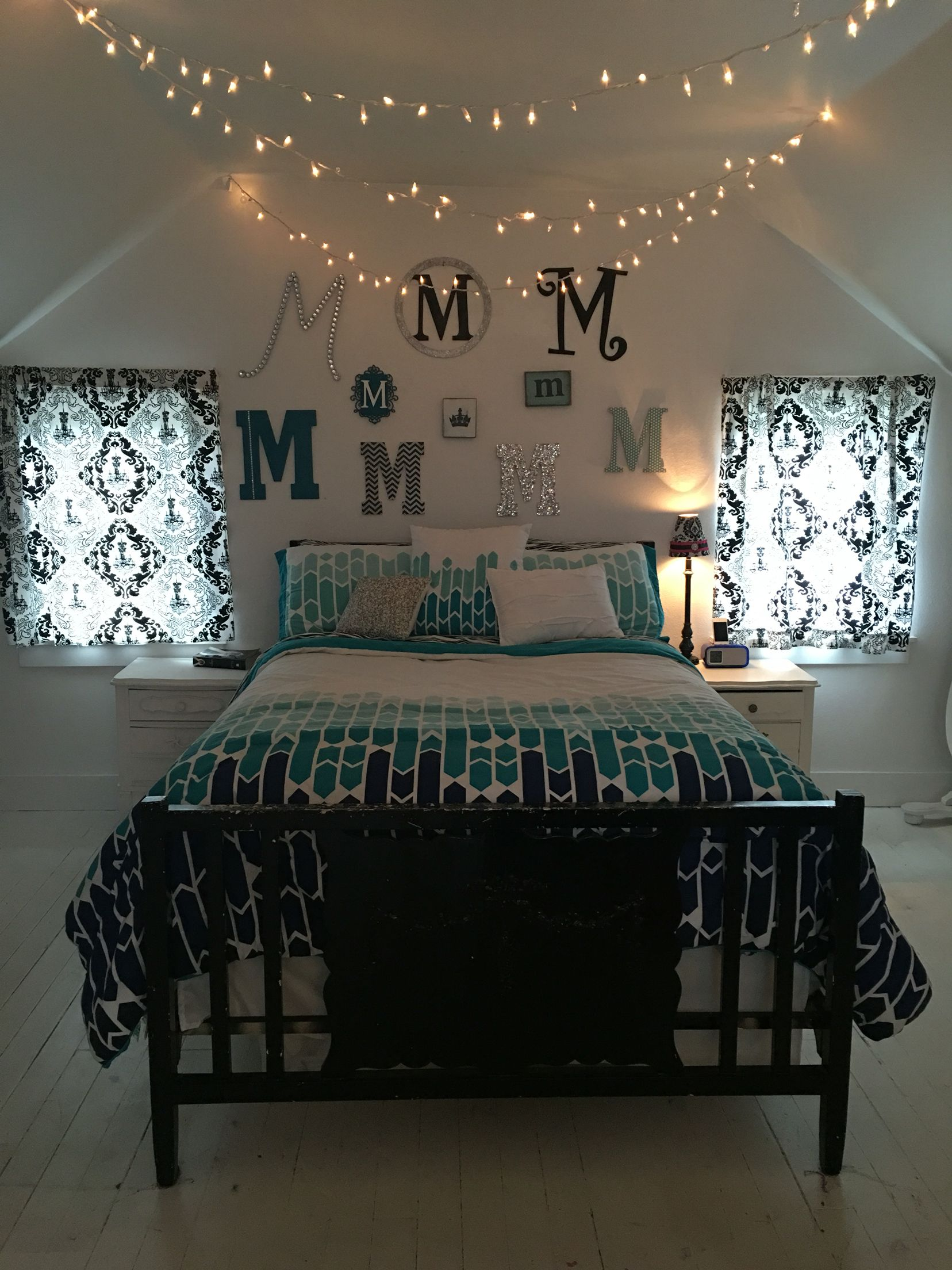 Silver And Black Bedroom Teenage Girls Bedroom Twinkle Lights Christmas Lights Teal