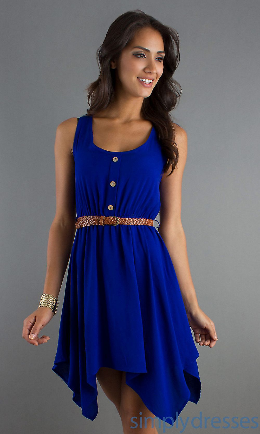 Blue Short Dresses Casual