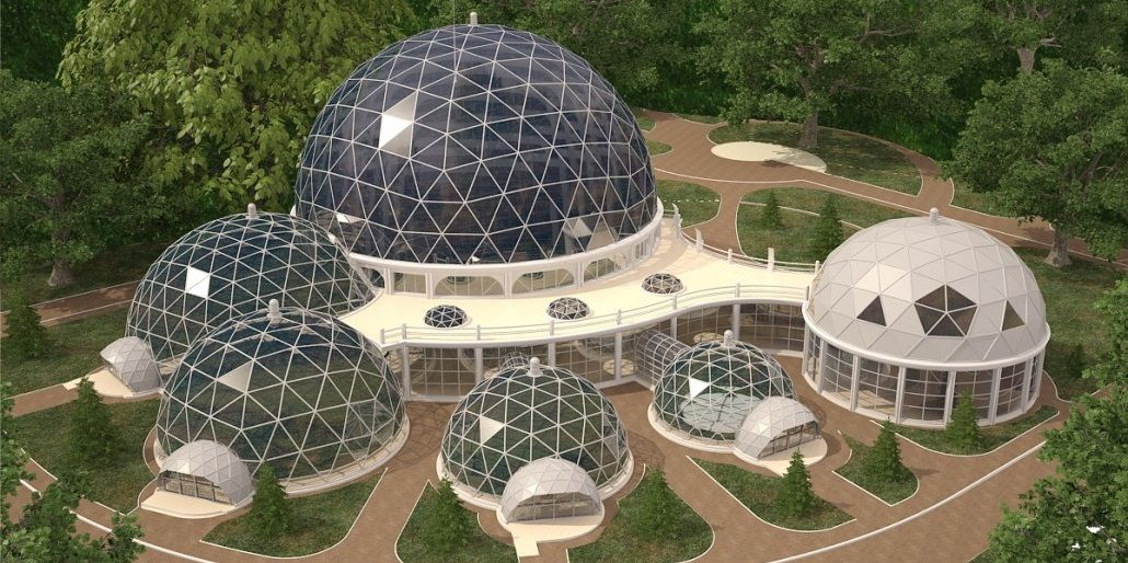 We Design Manufacture And Install Various Types Of Geodesic Domes Houses Pavilions Tents Hangars A Geodesic Dome Homes Dome Building Monolithic Dome Homes