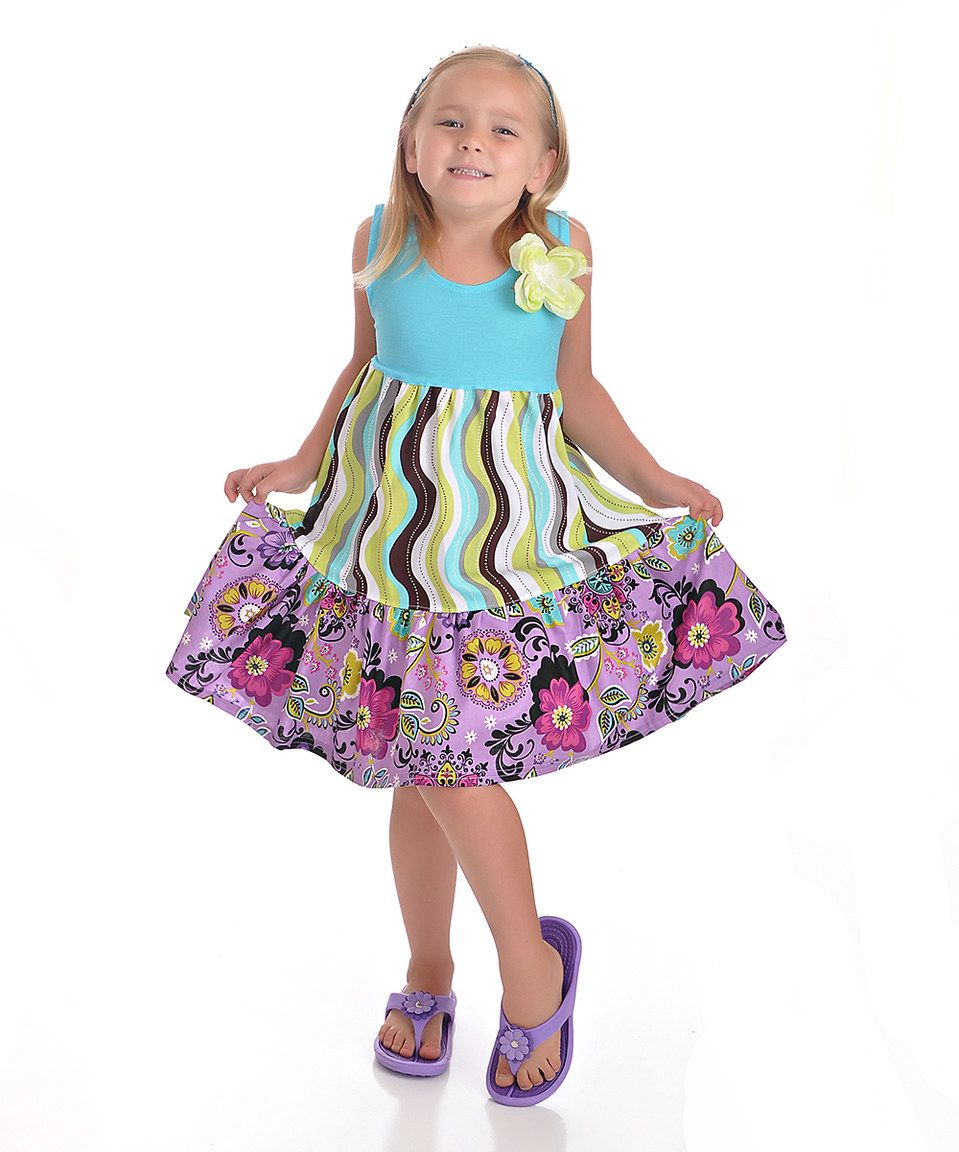Another great find on #zulily! Aqua & Purple Floral Dress - Toddler & Girls by Carolina Kids #zulilyfinds