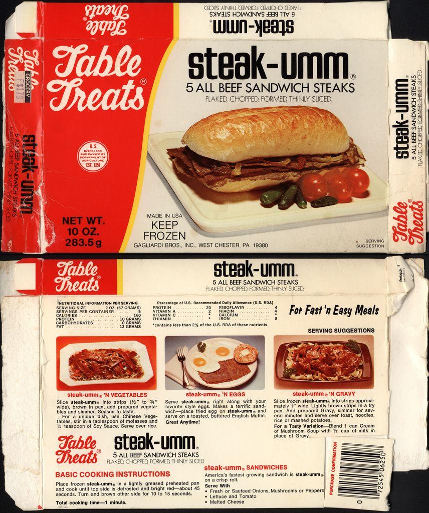 Gagliardi Bros Steak Umm Package Box 1970 S Steak Umm Beef Sandwich Philly Cheese Steak