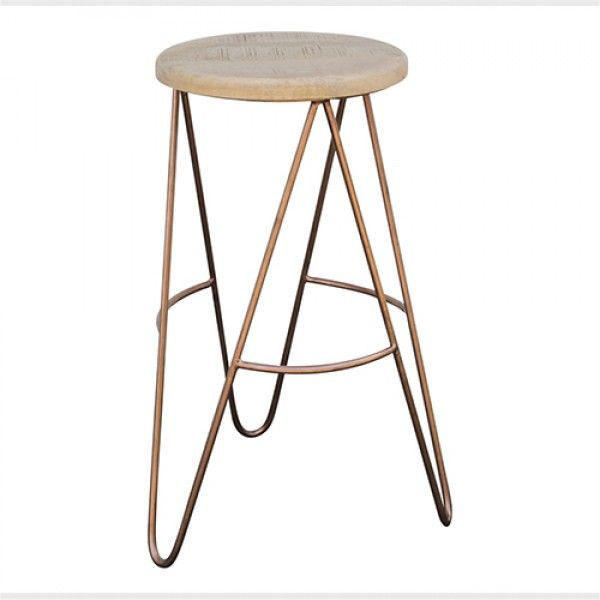 Bar Stool With Copper Hairpin Legs In Scandinavian Style .