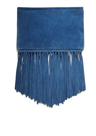 Fringed suede clutch bag women | MAJE