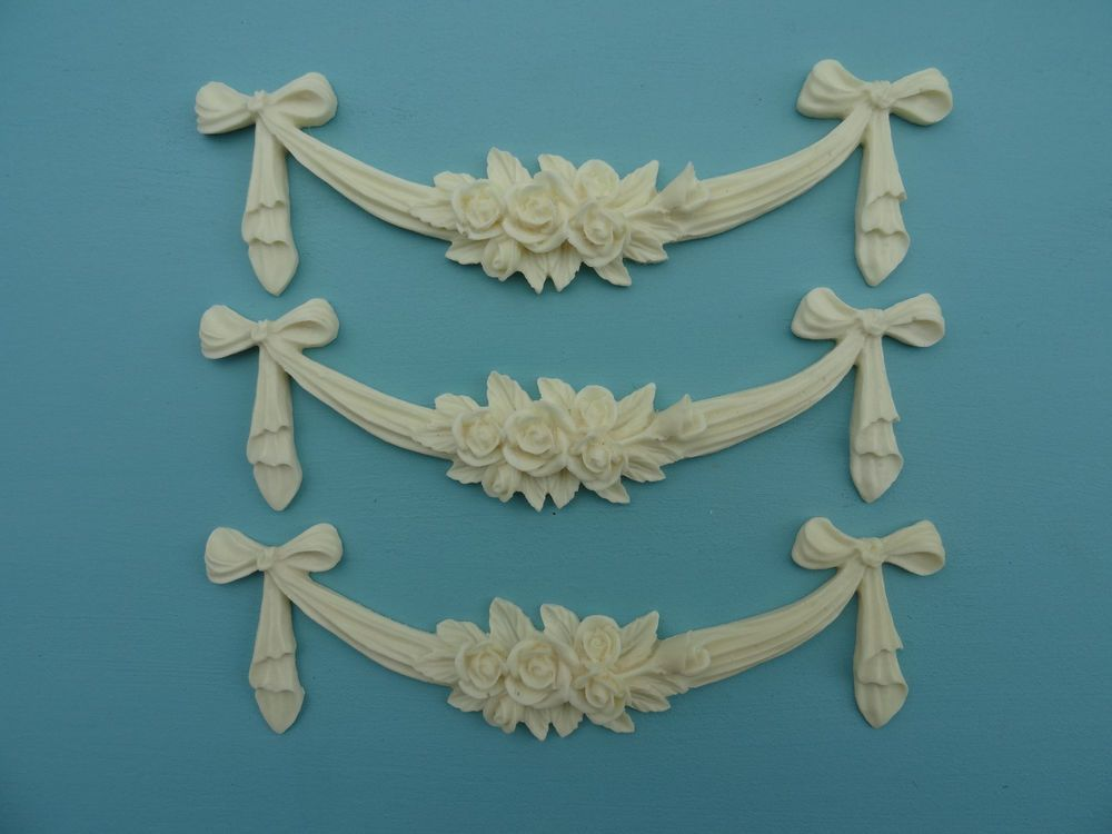 Rose Swag Bows X 3 Very Slight Seconds Resin Furniture Mouldings Decorative  Ss1 #FOREVERCHICFURNITUREMOULDINGSINGS #