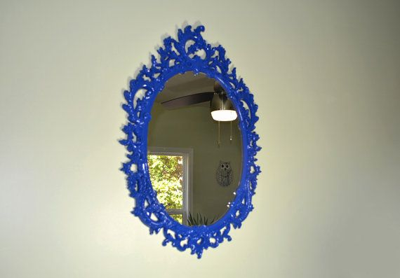 Vintage Oval Ornate Blue Wall Mirror Frame by TheVintageBirds, $78.00