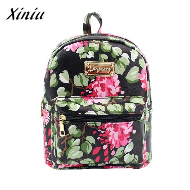 18595ae078dc Fashion Vintage Floral Women Backpack Leather Backpacks For Teenage Girls  Female School Shoulder Bag Mochila Wholesale