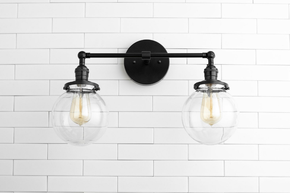 Photo of Clear Globe Light – Globe Vanity Light – Black Light – Bathroom Lighting – Farmhouse Light – Industrial Light – Model No. 5657