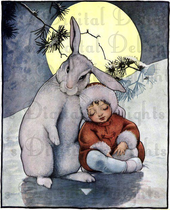 The Most ADORABLE Boy and BUNNY/VINTAGE Rabbit Digital Illustration