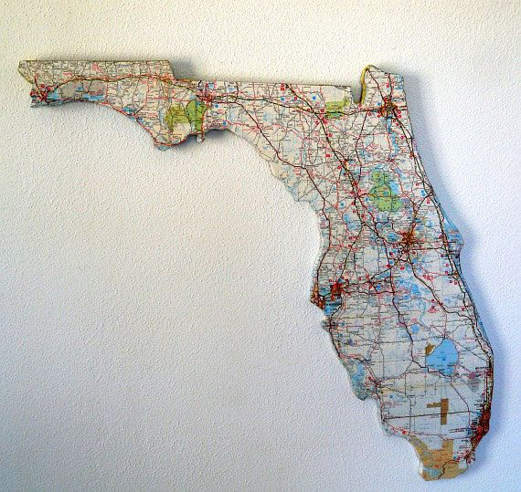 FLORIDA Vintage State Map Wall Art Large Size Florida Road Map - Large us road wall map