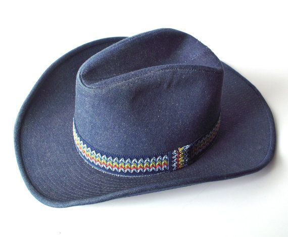 Vintage Denim YA Cowboy Hat Blue Jeans Material by PoorLittleRobin 25fd7076017