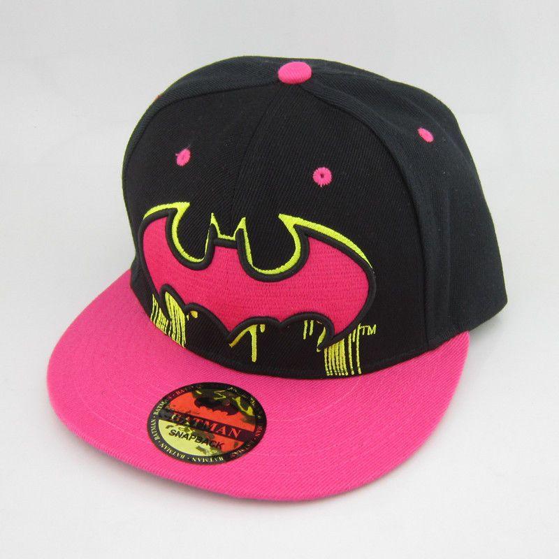 9b697c2da02 Black Pink Batman Hiphop Cosplay Snapback Adjustable Baseball Cap Flat Hat