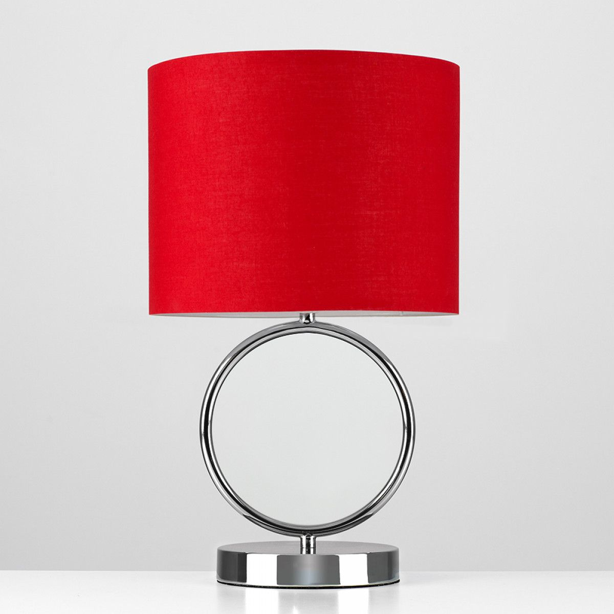 Lavoisier hoop touch table lamp in black chrome red shade iconic lavoisier hoop touch table lamp in black chrome red shade aloadofball Gallery