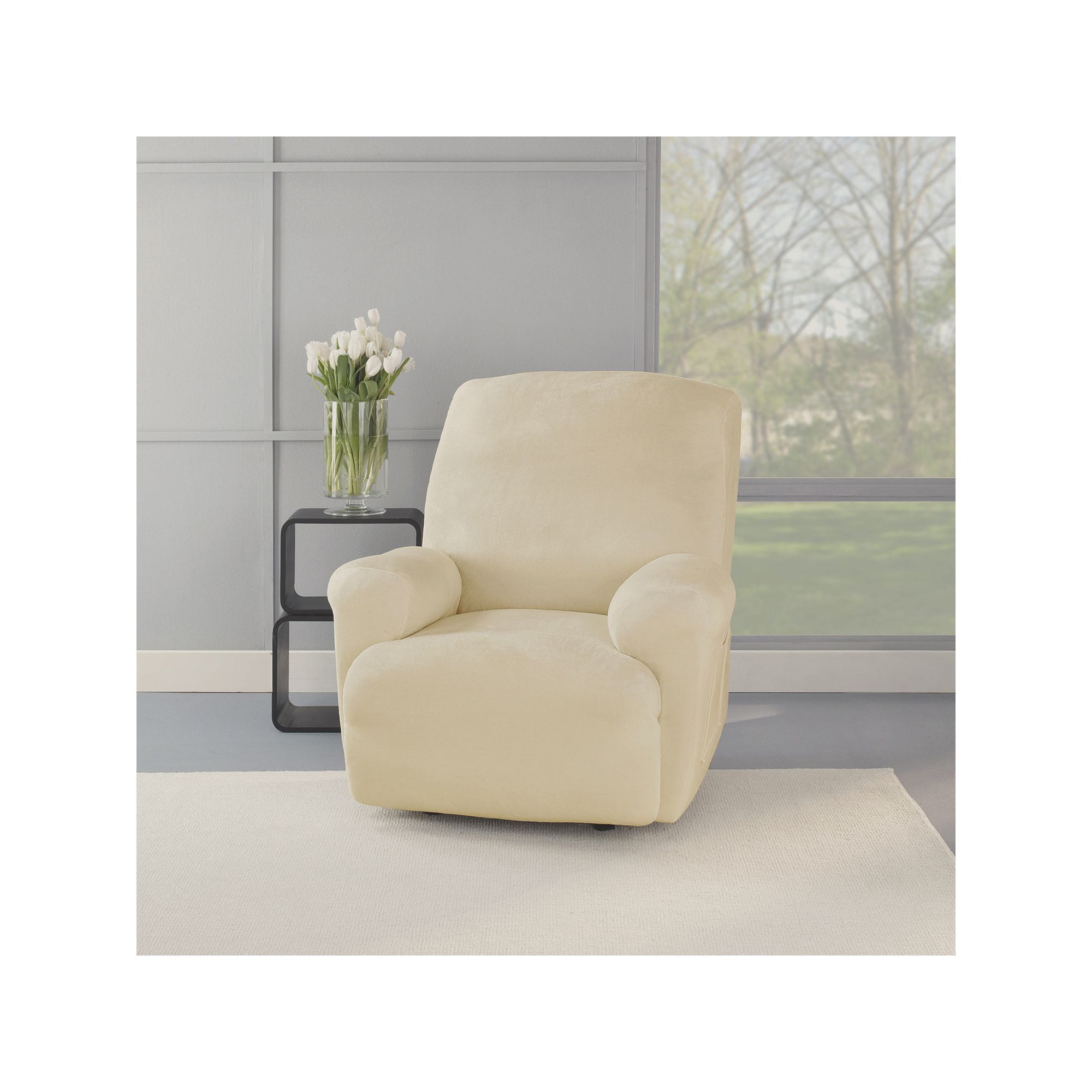 Sure Fit Stretch Plush Recliner Slipcover White Recliner Slipcover Plush Recliner Slipcovers For Chairs