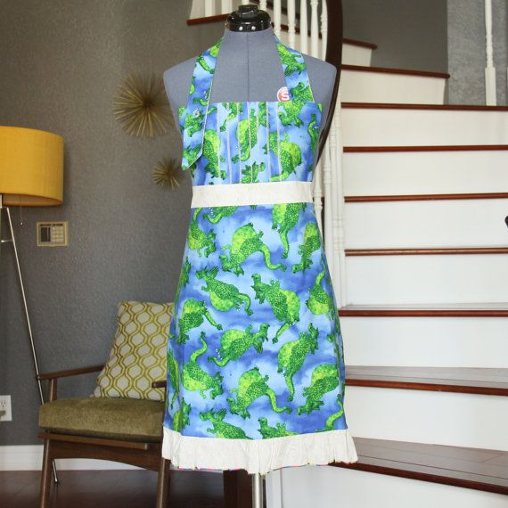 Blue Aprons For Women Chef Apron Dragon Womens Aprons By Ludysan