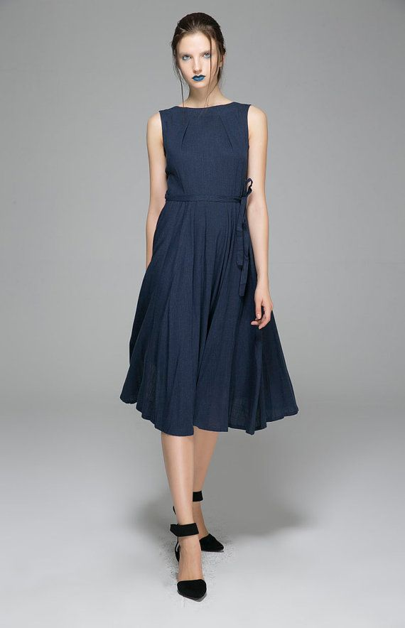 e7c186e5fe Navy Blue linen dress - women maxi dress with pleated neck line - women sleeveless  dress - vintage inspired flare dress (1401)