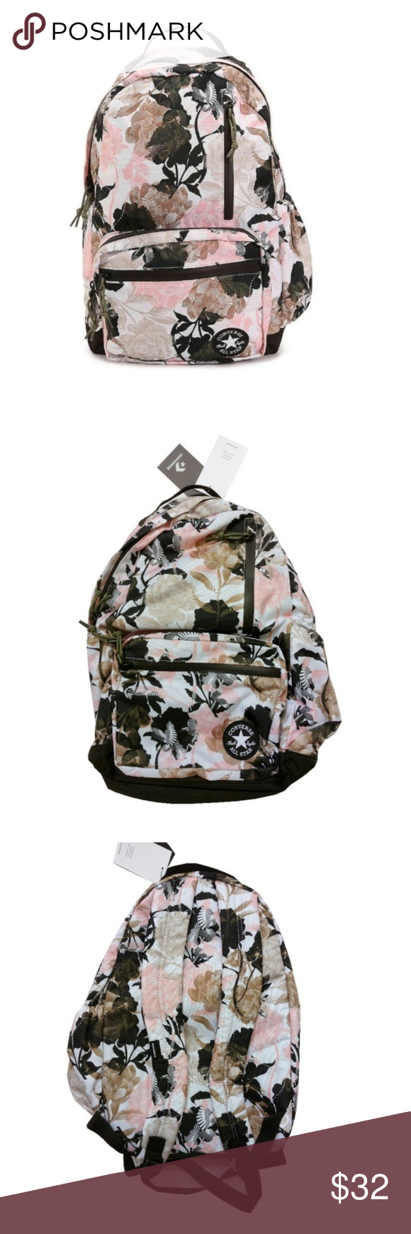 18b2c2f1bc880e Converse Pink Floral   Olive Green Backpack Bag Converse Pin Olive Green  Backpack Chuck Taylor Bag