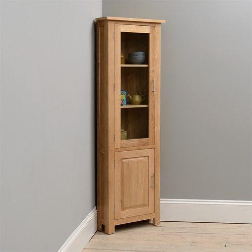 Dining Room Corner Decorating Ideas Space Saving Solutions: Newark Oak Corner Display Cabinet