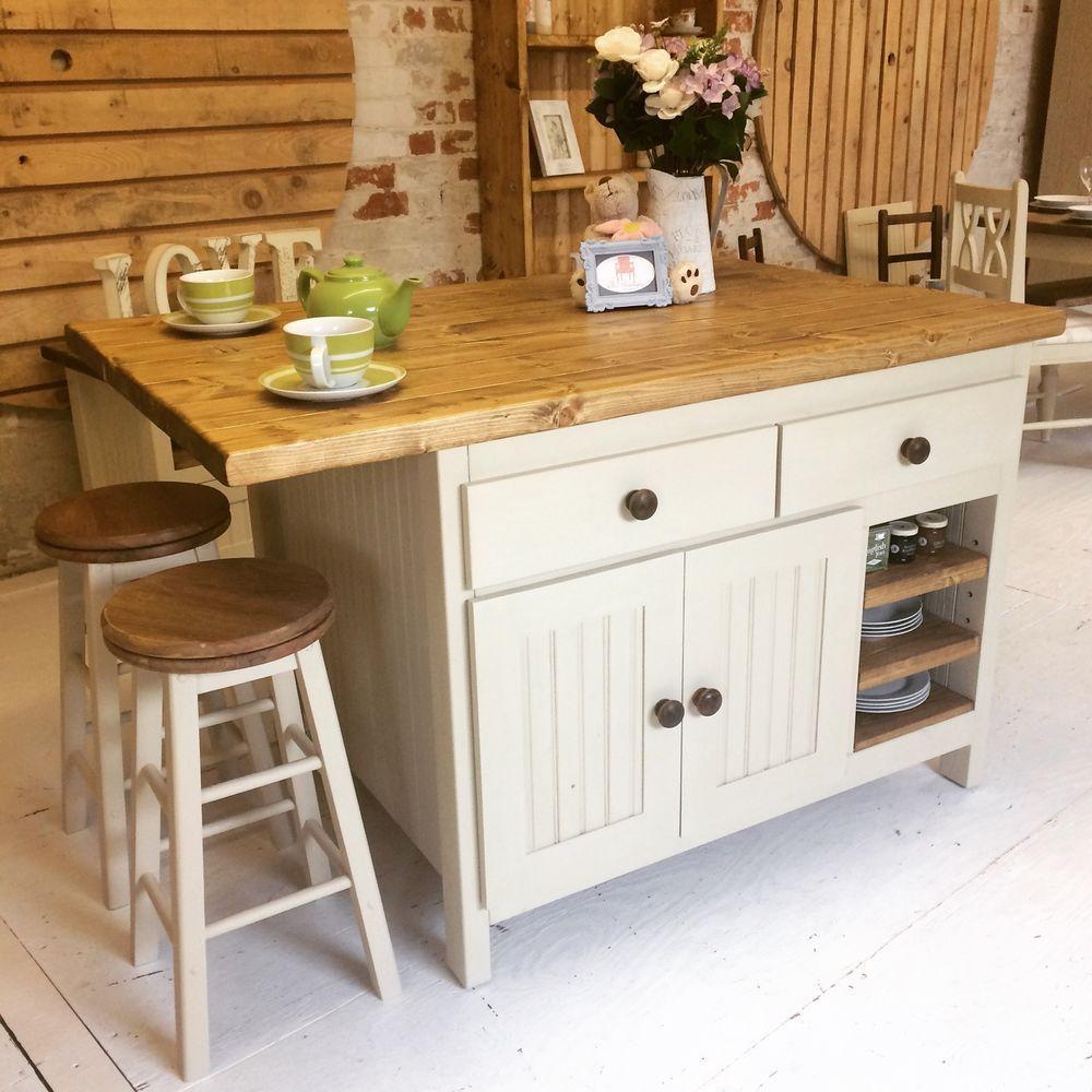 Bespoke And Handmade Kitchens: £1140 Bespoke Handmade To Order Large Rustic Farmhouse Kitchen Island / Breakfast Bar In Home