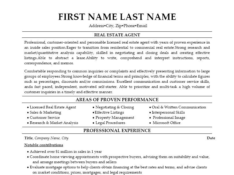 Real Estate Agent Resume Template | Premium Resume Samples ...