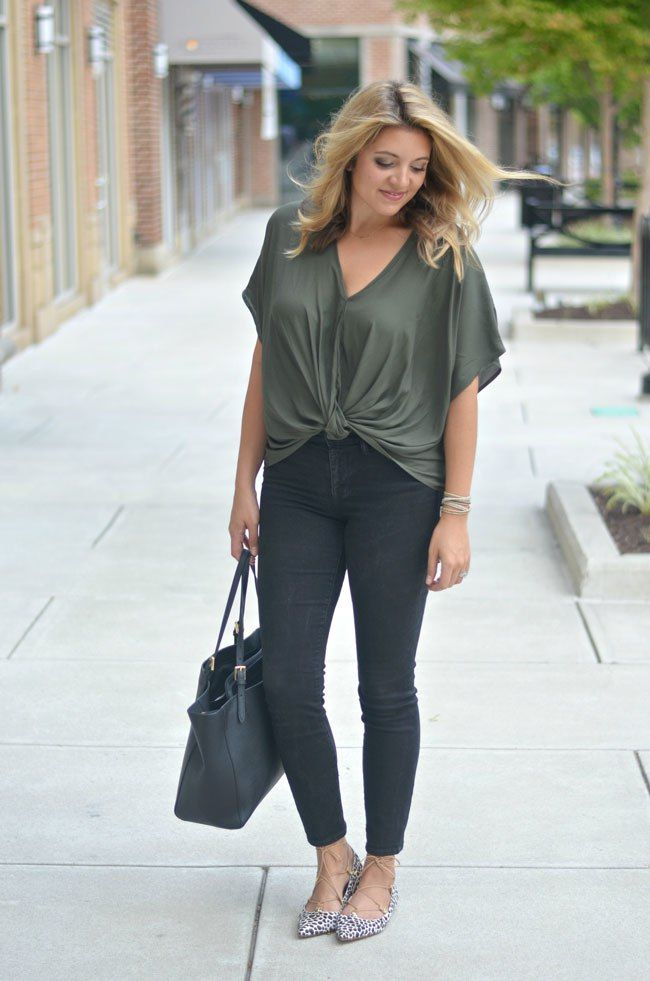 b57e3fa1c01 Cute Fall style - olive twist front top with skinny jeans