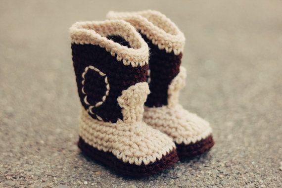 Pdf Crochet Pattern The Western Cowboy Baby Booties Baby Booties