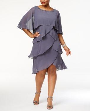 SL Fashions Women/'s Plus Size Overlay Embellished Dress