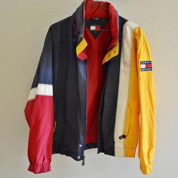 Red Yellow Blue White Tommy Hilfiger Windbreaker Jacket Vintage 90s Oversized Xl Jacken Windbreaker Jacke Vintage Windjacke