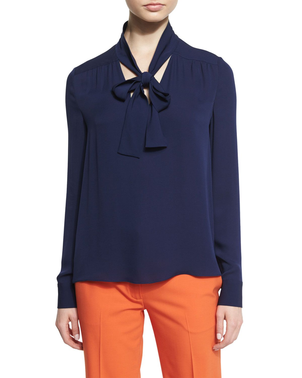 Britni Long-Sleeve Silk Tie-Neck Top, Midnight, Midnight Multi - Diane von Furstenberg