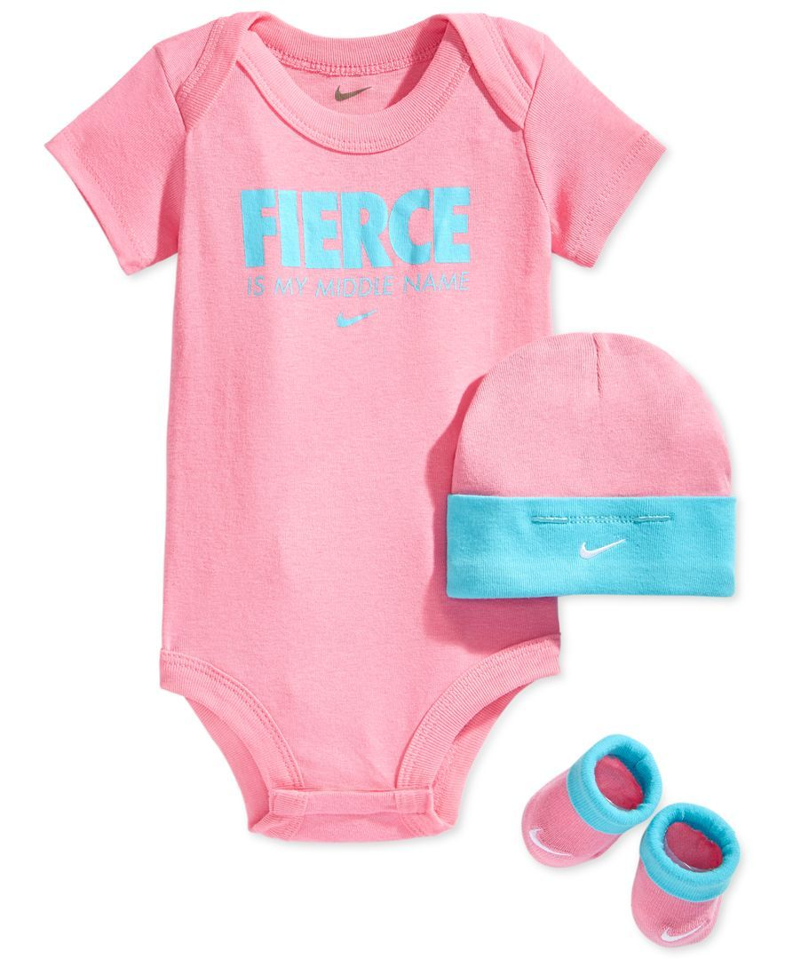 Nike Baby Girl Clothes Entrancing Nike Baby Girls' 3Piece Bodysuit Hat & Bootie Set  Baby Design Decoration