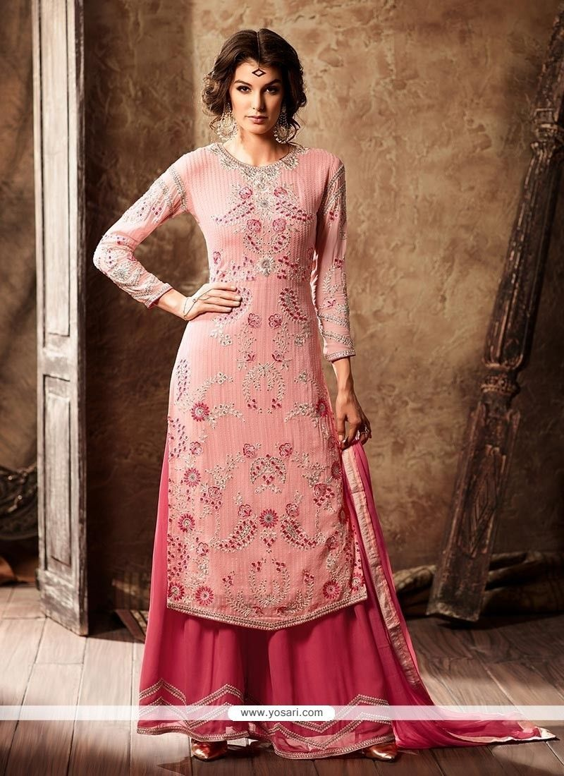9e864ab230f Striking Faux Georgette Peach And Pink Designer Palazzo Suit Model  YOS9350