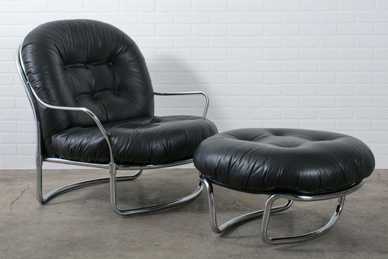 Carlo Di Carli Black Leather Lounge Chair And Ottoman Dining