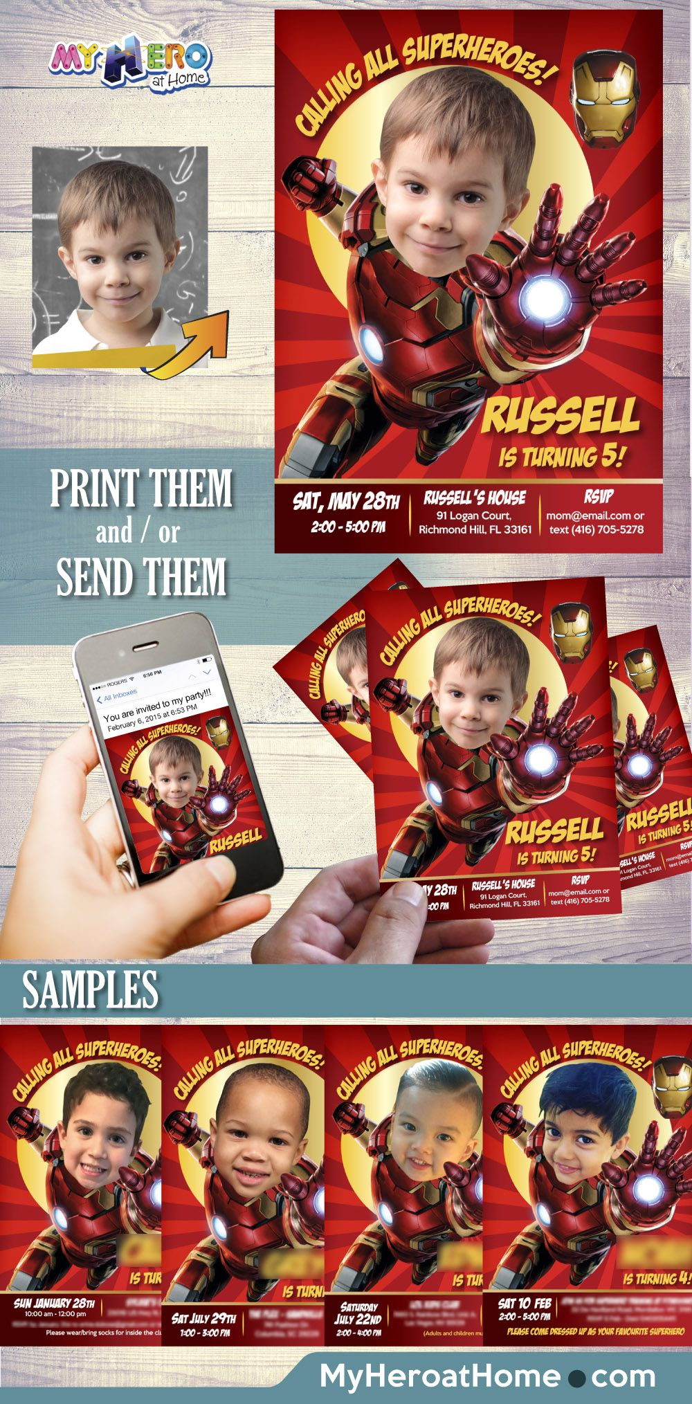 Turn your boy into Iron Man for his Avengers Birthday Invitation ...