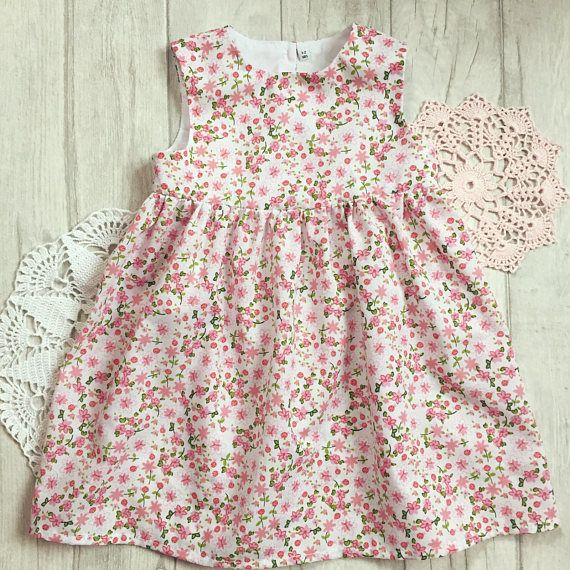 b809280e41c570 Baby girl dress 1-2 years pink ditsy floral summer babydress ...