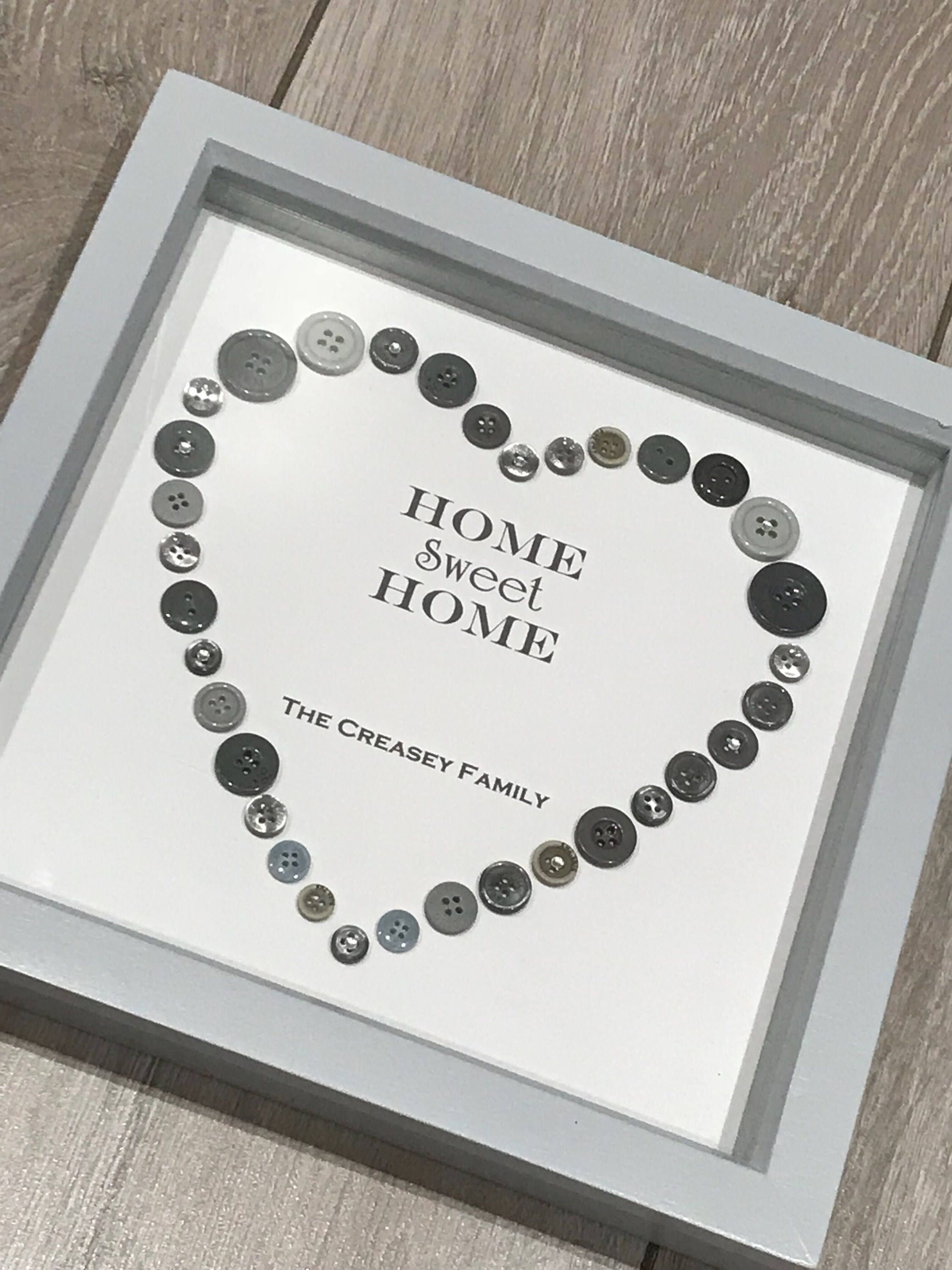 Home Sweet Home Gift, Button Art, Wedding Gift, Valentines Gift, New ...